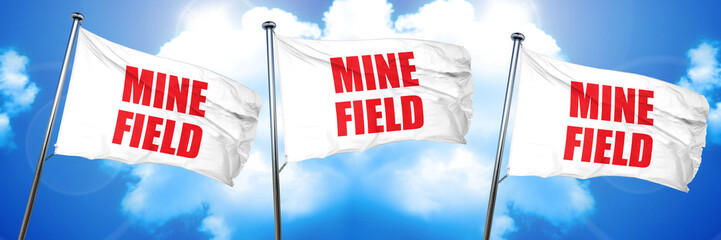 minefield, 3D rendering, triple flags