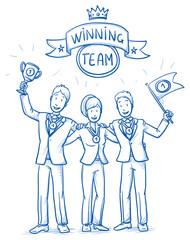 Happy successful business team, men and women, in winning position, concept of good teamwork. Hand drawn line art cartoon vector illustration.