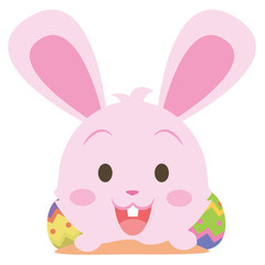 Easter bunny smile character collection