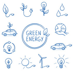 Icon set green energy, ecology, sustainability, with various objects, car, current, power plant, lightbulb, plant, leaf, water, globe. Hand drawn line art cartoon vector illustration.