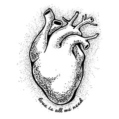 black anatomical heart. tagline love is all we need. Valentines day card. Vector illustration, elements for design, tattoo