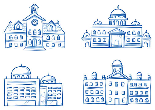 Set of different official buildings, school, central station, city hall, court, seat of government. Hand drawn cartoon vector illustration.