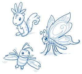 Set of fantastic animals, creatures, squirrel, butterfly, bee. Hand drawn doodle vector illustration.