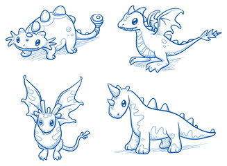 Set of fantastic animals, creatures, dinosaur, dragon, bat. Hand drawn doodle vector illustration.