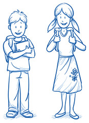 Cute little boy and girl with school bags and books. Hand drawn cartoon doodle vector illustration.