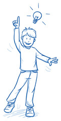 Cute little boy raising his hand with Idea or answer. Hand drawn cartoon doodle vector illustration.
