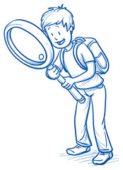 Cute little boy with school bag an magnifying glass looking for something. Hand drawn cartoon doodle vector illustration.