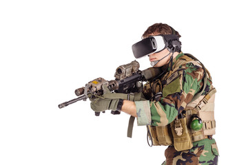 soldier wearing virtual reality glasses.