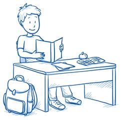 Cute little boy sitting at school desk reading a book. Hand drawn cartoon doodle vector illustration.