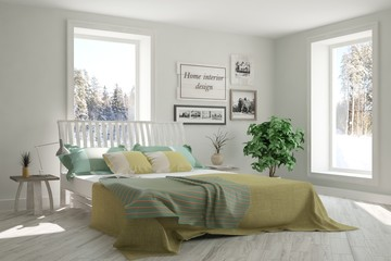 White bedroom with winter landscape in window. Scandinavian interior design. 3D illustration
