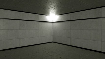 Abstract empty warehouse or basement, 3d render