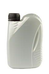 Grey plastic canister for motor oil or other liquids. Recyclable garbage series.