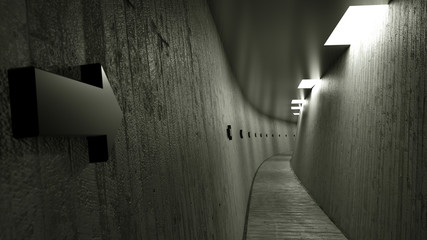 Narrow concrete corridor with black pointers, 3d render