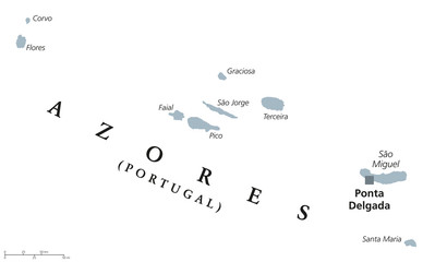 Azores political map with capital Ponta Delgada. Autonomous region of Portugal, an archipelago composed of nine volcanic islands in North Atlantic Ocean. Gray illustration, English labeling. Vector.