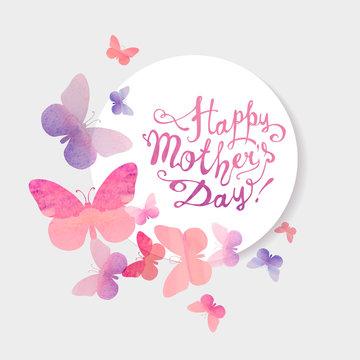 Happy Mother's Day! Pink watercolor butterflies