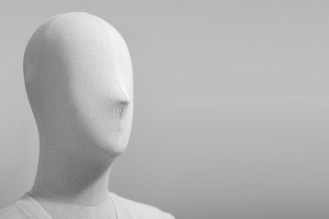 mannequin Puppet on a white background with copy space.
