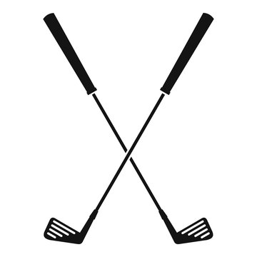 Two golf clubs icon, simple style