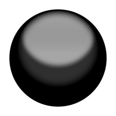 Dark Gray Button Orb or Sphere 3D Circle Isolated on White Background
