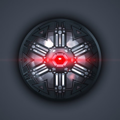 a robot eye with red light beam