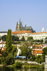 Prague, hill Hradschin with Veits Cathedral, river Moldova, Czec
