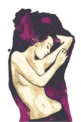 Keuken foto achterwand Schilderkunstige Inspiratie sensitive woman, vector illustration,
