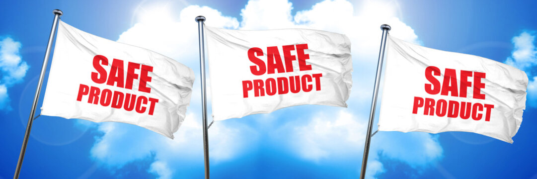 safe product, 3D rendering, triple flags