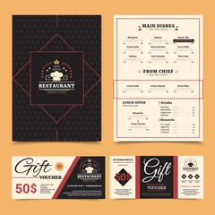Restaurant Menu Gift Card Set Design