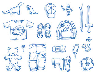Set of personal belongings, objects of a young boy. Clothing, toys, backpack, football, sword, car, sling, stuff. Icons for a young modern lifestyle, hand drawn flat lay vector illustration