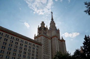 Russia. Moscow. The building of Moscow State University in Moscow on the Sparrow Hills.