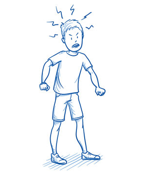 Young boy looking furious with his hands clenched fists. Hand drawn cartoon doodle vector illustration.