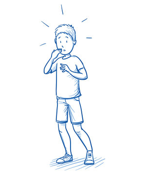 Startled young boy in an awkward situation. Hand drawn cartoon doodle vector illustration.