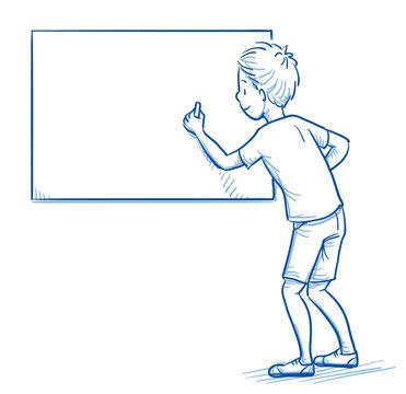 Happy young school boy writing on a blackboard. Hand drawn cartoon doodle vector illustration.