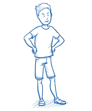 Young boy looking angry with his hands on his hips. Hand drawn cartoon doodle vector illustration.