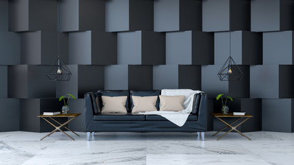 Modern room interior design ,black leather sofa on marble floor and  black square wall ,3d render