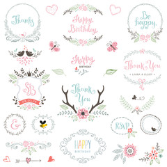 Hand drawn Birthday Party rustic collection with typographic design elements. Vector illustration.