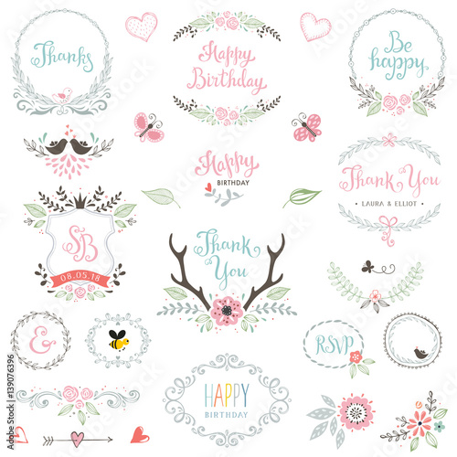 Hand Drawn Birthday Party Rustic Collection With Typographic Design Elements Vector Illustration