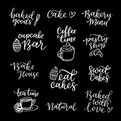 Vector set of vintage bakery hand lettering logos, badges. Typography design elements, modern calligraphy collection with cookie illustrations for prints, cards, posters, products packaging, branding.