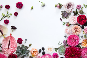 Flower background on white paper