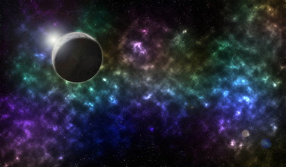sky and sun light reflex with colorful nebulae in galaxy  abstract  beautiful for background