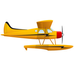 Yellow seaplane. Airplane on white background. Isolated object. Vector Image.