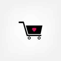 Shopping cart icon - black vector illustration with shadow
