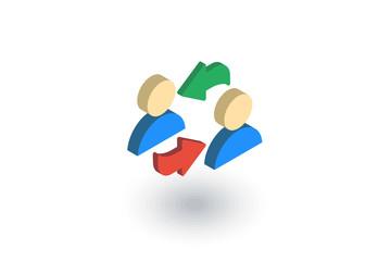 sharing, public communication, isometric flat icon. 3d vector colorful illustration. Pictogram isolated on white background
