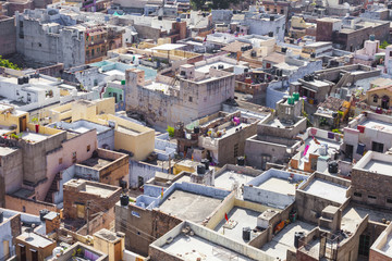 View of Blue city Jodhpur from Mehrangarh Fort, Jodhpur, Rajasthan, India .
