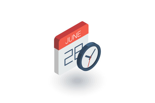 date and time, calendar and clock isometric flat icon. 3d vector colorful illustration. Pictogram isolated on white background