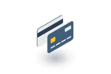 bank card isometric flat icon. 3d vector colorful illustration. Pictogram isolated on white background