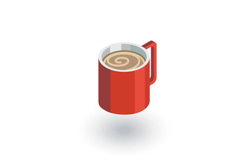 coffee cup isometric flat icon. 3d vector colorful illustration. Pictogram isolated on white background