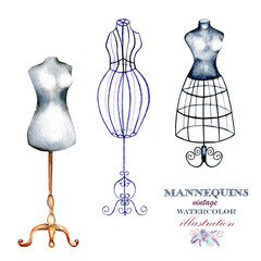Set of watercolor retro mannequins, hand drawn isolated on a white background