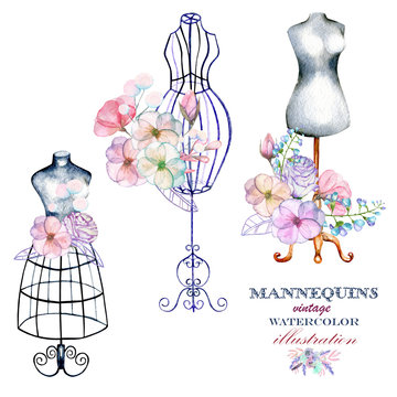 Set of watercolor retro mannequins and flowers, set of logo mockups, hand drawn isolated on a white background