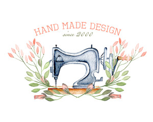 Mockup of logo with watercolor retro sewing machine and floral elements, hand drawn isolated on a white background