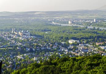 Klosterneuburg, city view from the mountain Exelberg, Austria, L